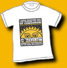 "a custom design of a conference shirt saying ""I have reached out and touched the face of tomorrow"""