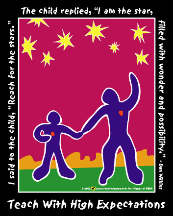 "this is the 'i am the star' shirt. beautiful eight color matisse style art on a black shirt saying ""i said to the child, 'reach for the stars.' the child replied, 'i am the star, filled with wonder and possibility.'"" below art it says, ""teach with high expectations"""