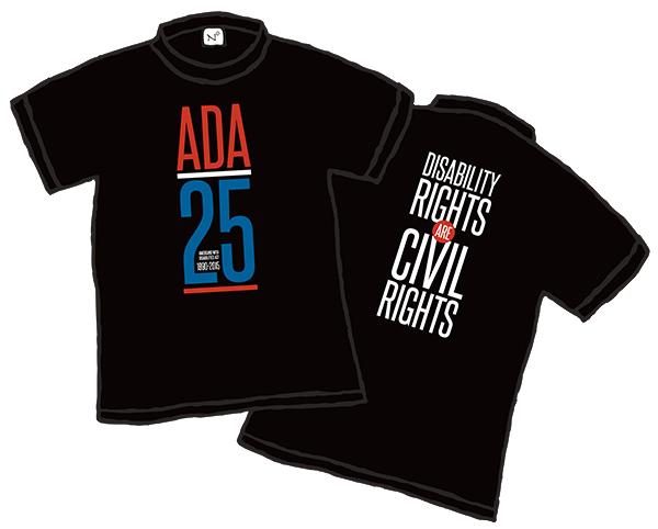 "For folks with visual disabilities, this is a black tee with red, white and blue front design saying ADA 25. On the back, big white letters that say ""Disability Rights are Civil Rights."""